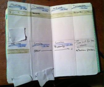 Viele, viele Seiten sind frei für die Wochenübersichten. Die sehen so aus! Verreise ich, gibt es statt Wochenplan, leere Seiten fürs Tagebuch!