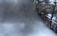 Eis am Fenster bewundern